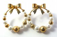 Gold Bow And Faux Pearl Bead Circular Drop Earrings.